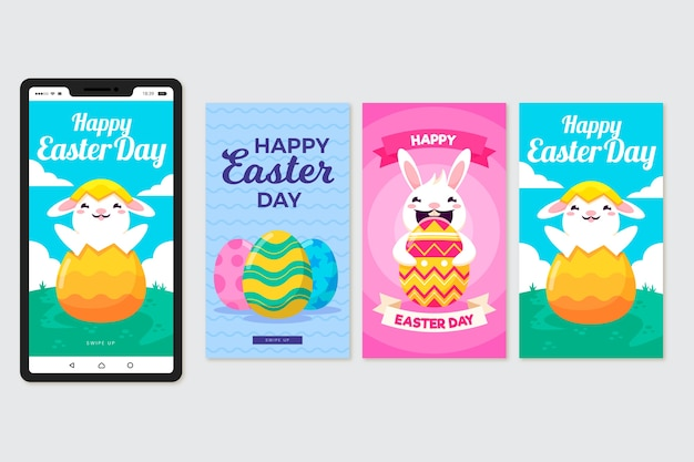 Пасхальные истории в instagram с кроликом и яйцами Бесплатные векторы