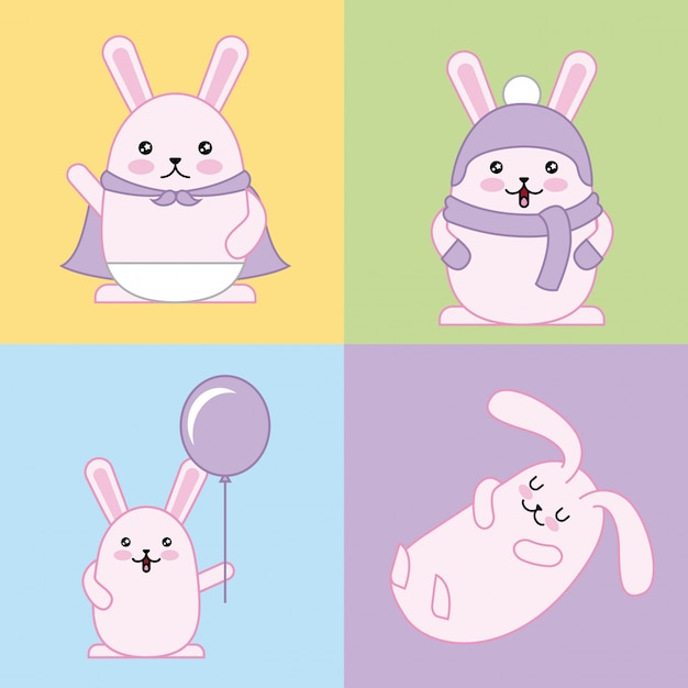 Easter day kawaii illustration Free Vector