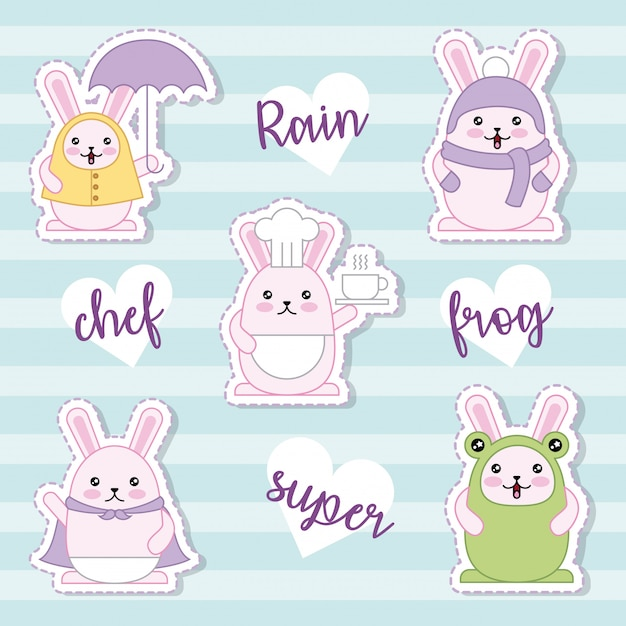 Easter day kawaii sticker collection Free Vector