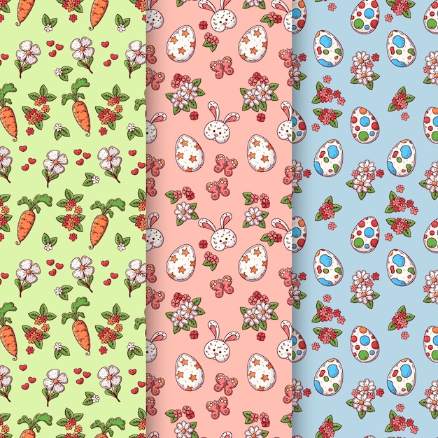 Easter day pattern collection concept Free Vector