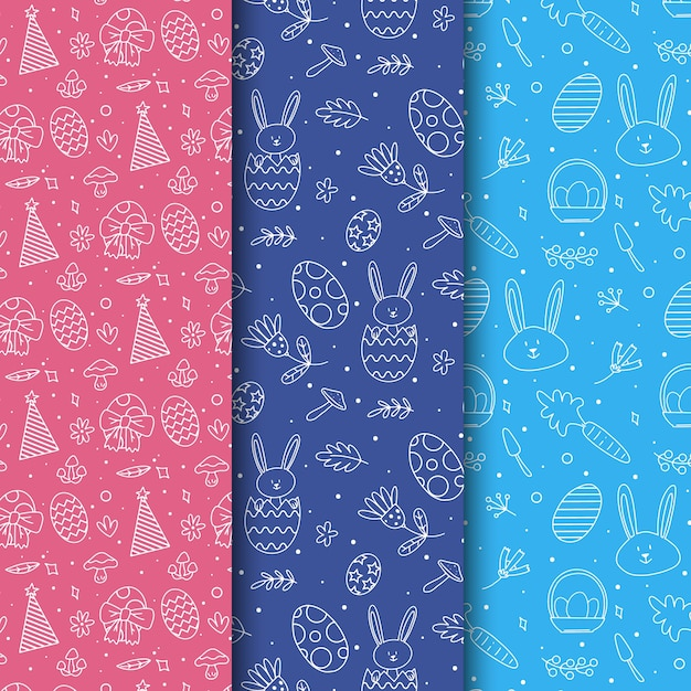 Easter day pattern collection design Free Vector