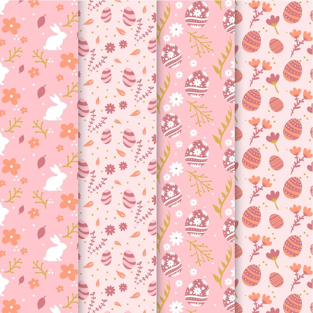 Easter day pattern collection style Free Vector