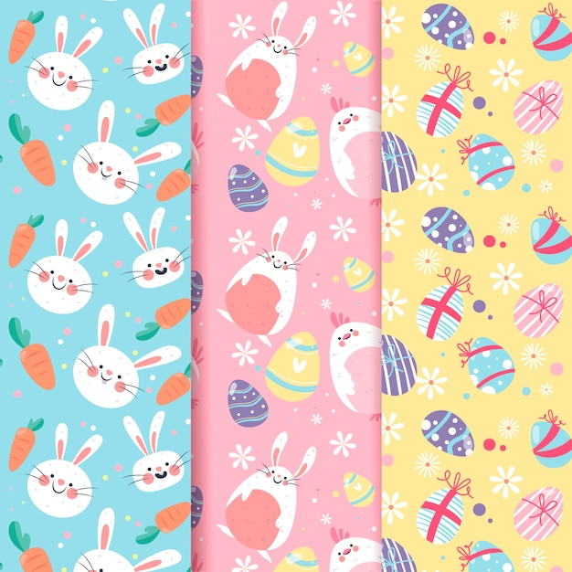 Easter day pattern collection Free Vector