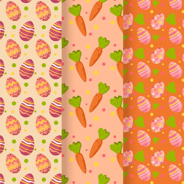 Easter day pattern flat design collection Free Vector