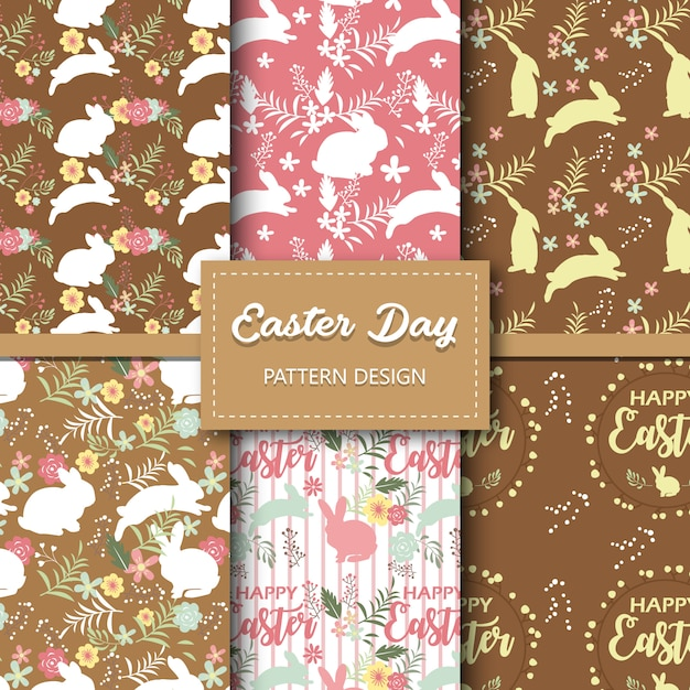 Easter day seamless pattern collection Premium Vector