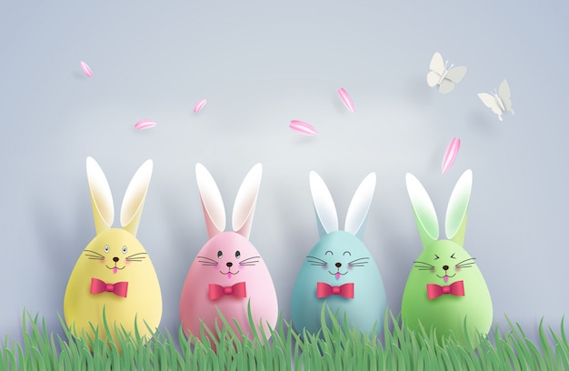 Easter day with egg Premium Vector