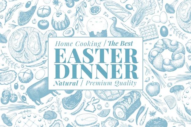 Easter dinner banner template Premium Vector