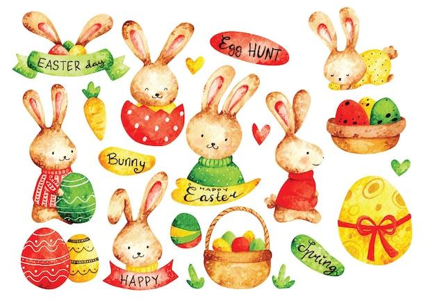 イースターエッグとウサギの水彩画スタイル Premiumベクター