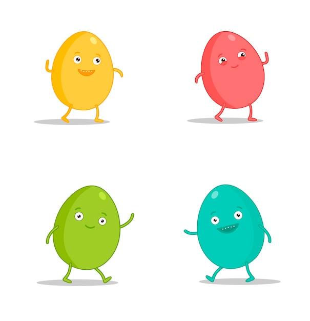 Easter egg character emoji set. funny cartoon emoticons Premium Vector