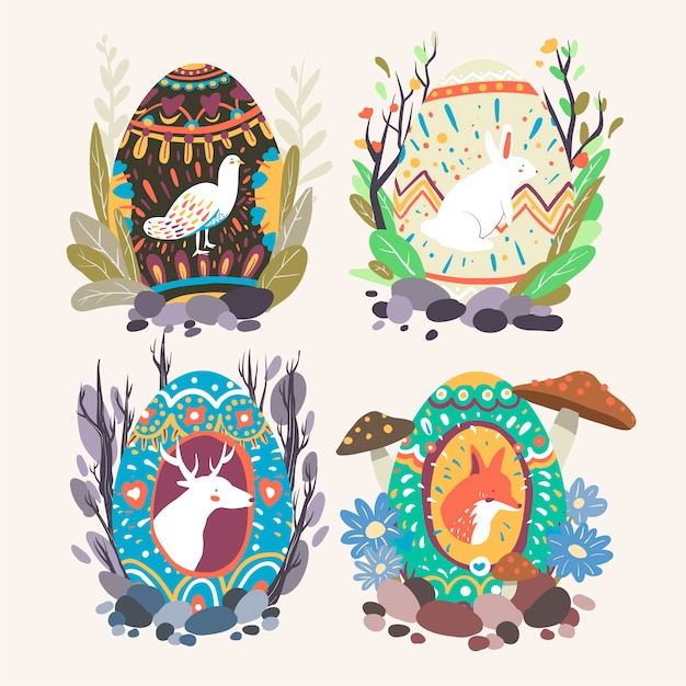Easter egg designs collection Free Vector