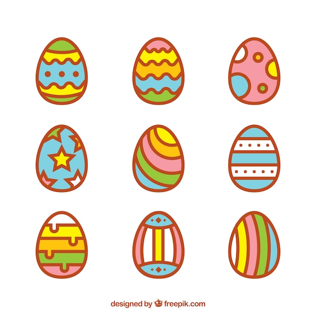 Easter egg designs in flat style