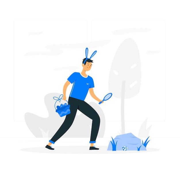 Easter egg hunt concept illustration Free Vector