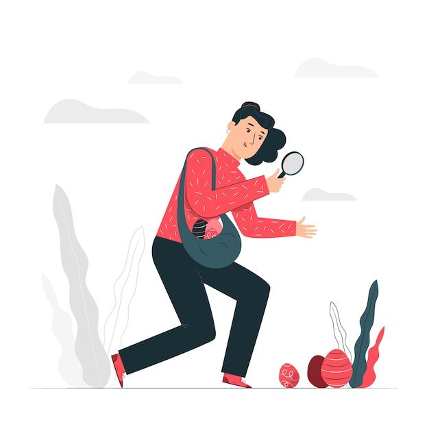 Easter egg hunt illustration concept Free Vector