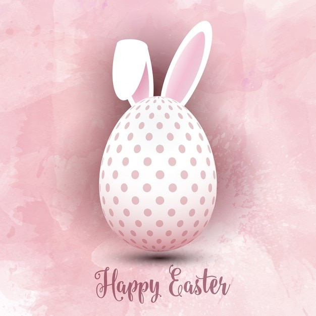 Easter egg with bunny ears on a watercolor background Free Vector