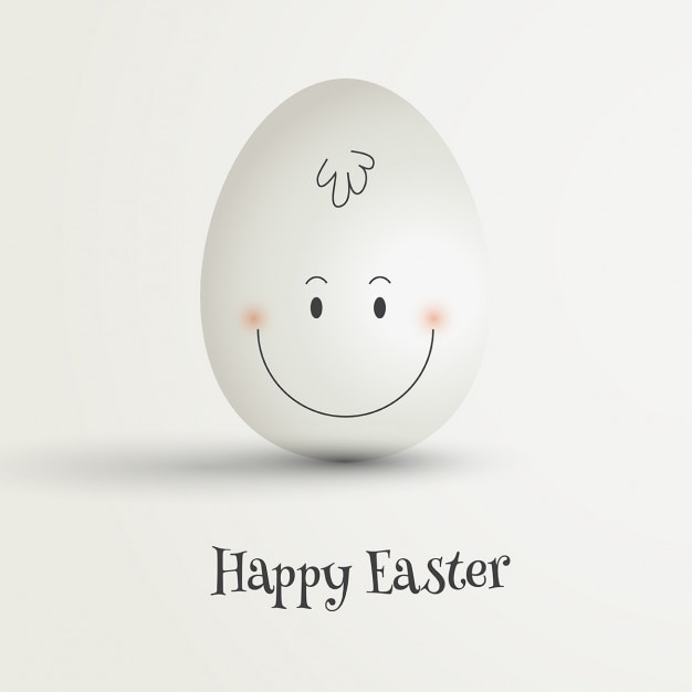 Easter egg with hand drawn happy face Free Vector