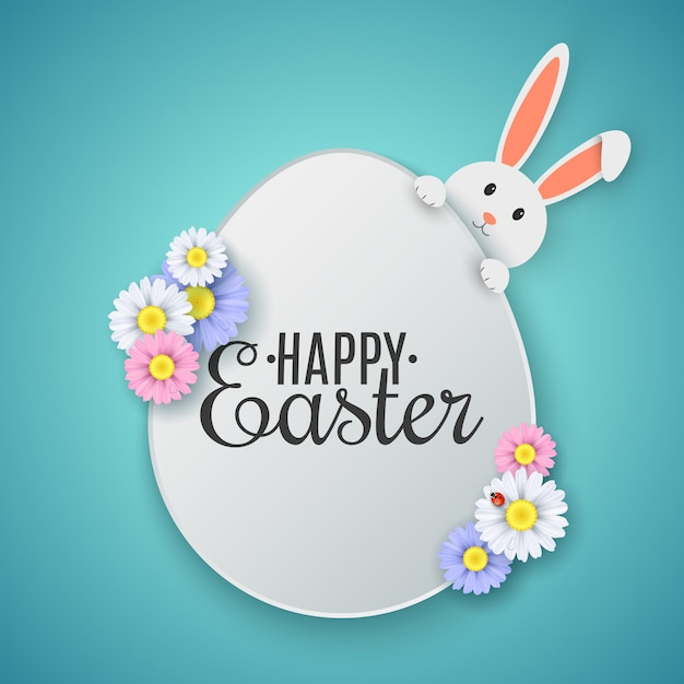 Easter egg with happy easter text. cute cartoon rabbit with spring flowers. Premium Vector
