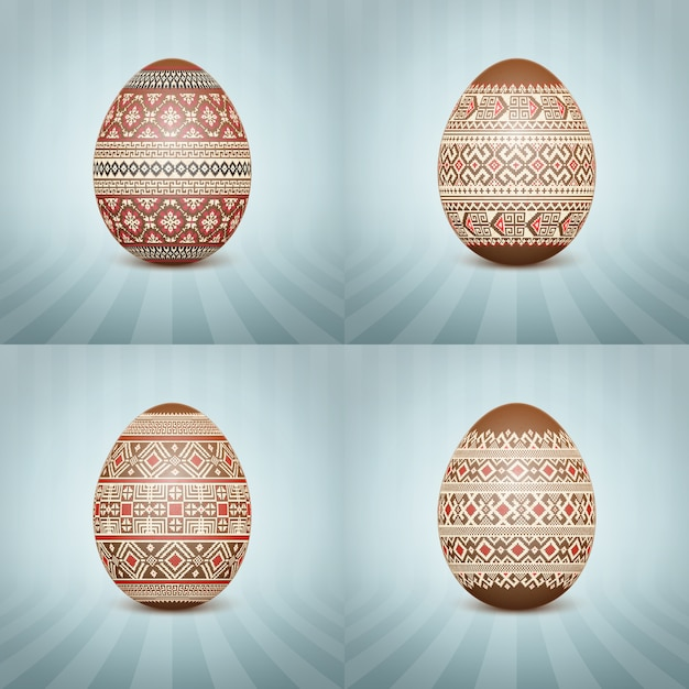 The easter egg with an ukrainian folk pattern ornament Free Vector