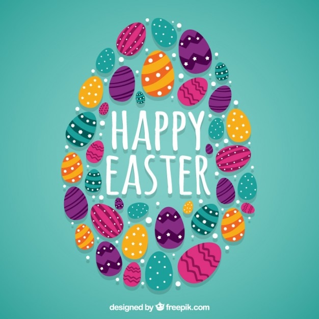 Easter eggs background Vector Free Download