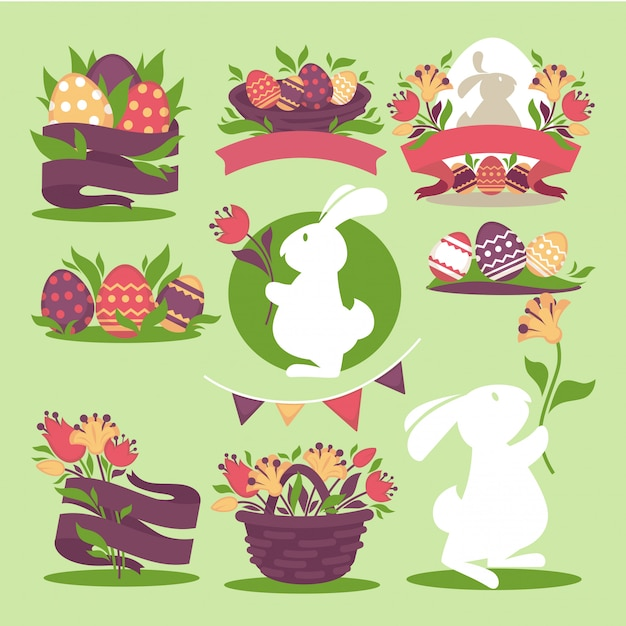 Easter eggs and bunny rabbit holding spring Premium Vector