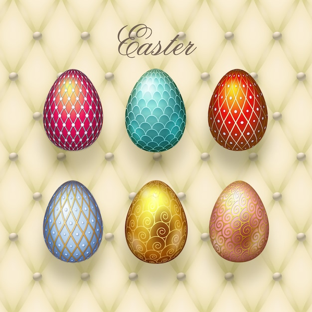Easter eggs collection Premium Vector