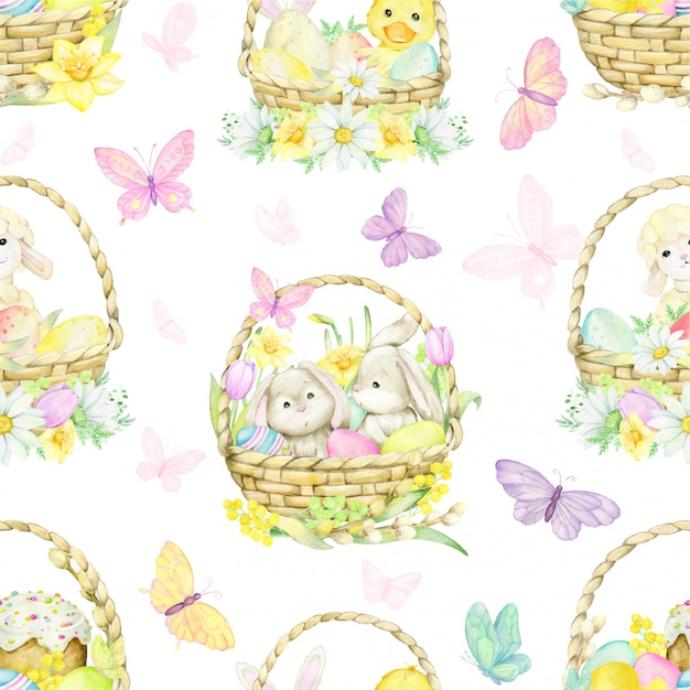 Easter eggs, different colors, on an isolated background. watercolor, seamless pattern Premium Vector