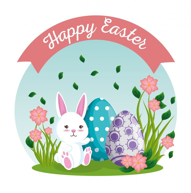 Easter eggs and rabbit with flowers plants Free Vector