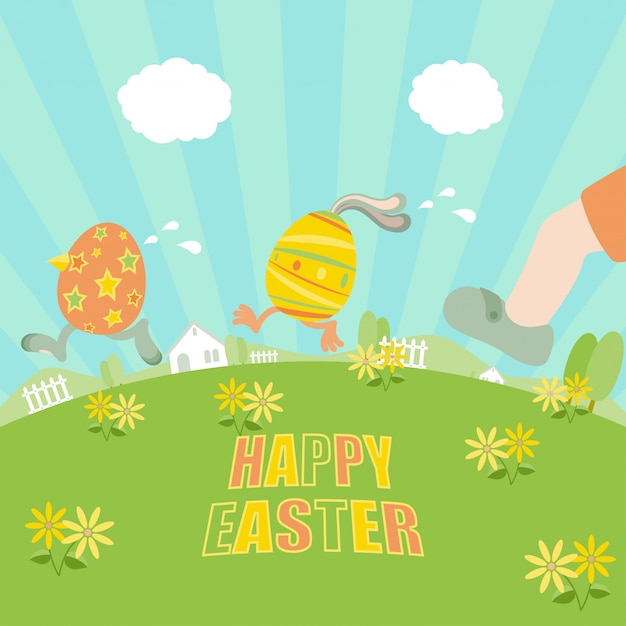 Premium Vector  Easter eggs running away from a chasing boy