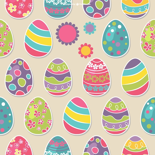 Easter Eggs Seamless Pattern Free Vector