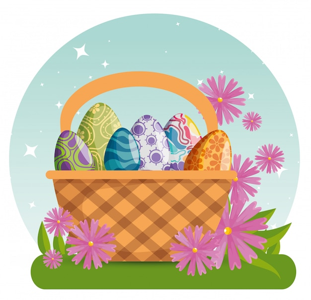 Easter eggs with figures decoration inside basket Free Vector