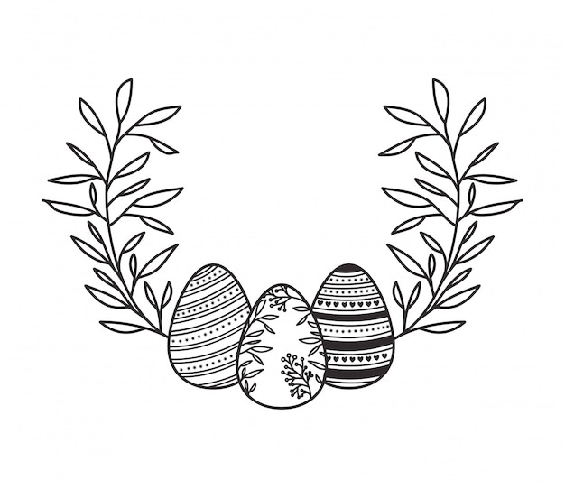 Easter Eggs With Flowers And Leafs Isolated Icon Vector Premium