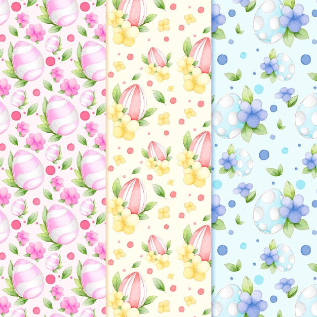 Пасхальные яйца с листьями и цветами акварельный рисунок Бесплатные векторы