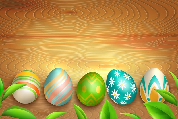 Easter eggs on wooden background Free Vector
