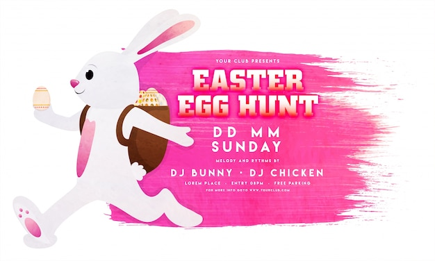 Easter Flyer Template With Pink Stain And Bunny Vector  Premium