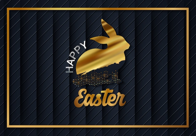 Easter gold eggs Premium Vector