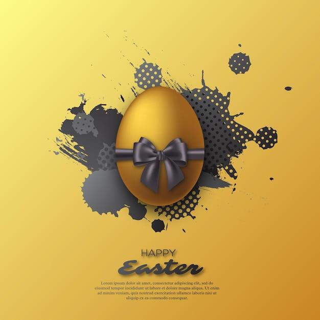 Золотое пасхальное яйцо с реалистичным бантом и акварельным всплеском. абстрактный праздник. Бесплатные векторы