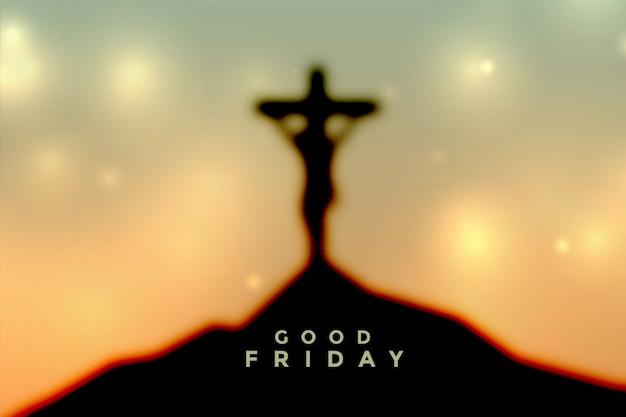 예수 그리스도의 십자가와 부활절 좋은 금요일 장면 무료 벡터
