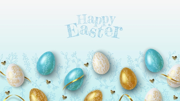 Easter greeting background with realistic golden, blue and white easter eggs Premium Vector