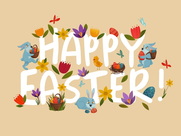 Easter greeting bright floral  white lettering Free Vector
