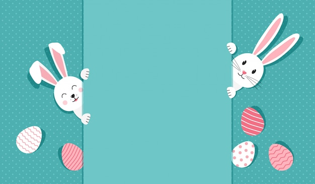 Easter greeting card with bunnies and eggs, illustration Premium Vector