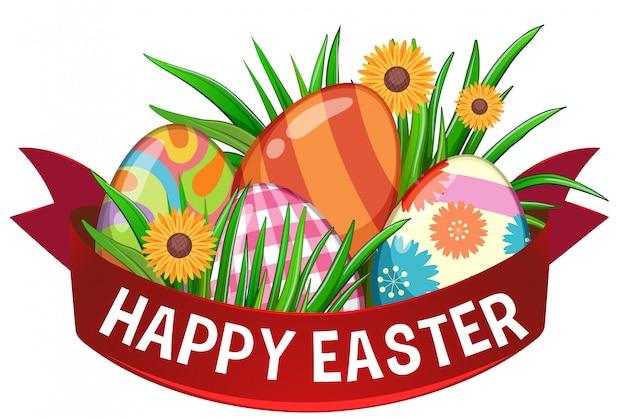 Biglietto di auguri di pasqua con uova dipinte e nastro rosso Vettore gratuito