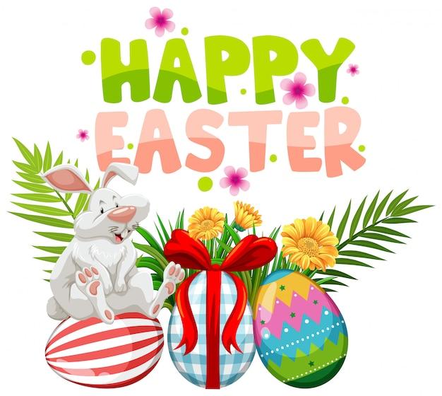Biglietto di auguri di pasqua con coniglio bianco e uova dipinte Vettore gratuito