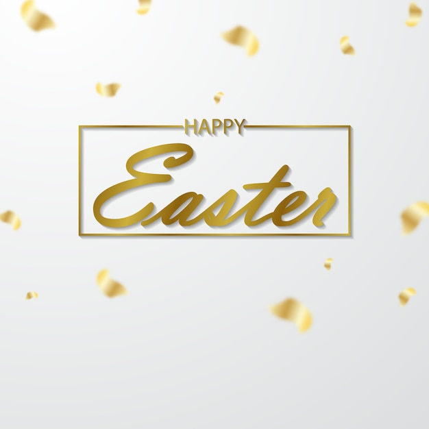 Easter greeting cards cut from shiny shiny gold paper Premium Vector