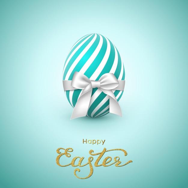 부활절 휴일 인사말 카드입니다. 반짝이 글자, 흰 나비와 함께 현실적인 계란. 무료 벡터