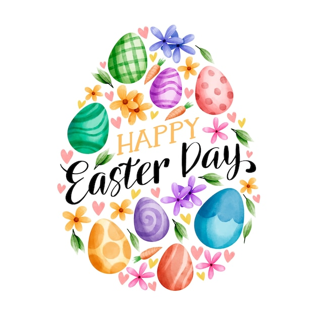 Easter holiday watercolor and big egg Free Vector