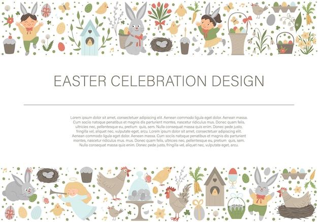 Граница рамки горизонтального плана пасхи с кроликом, яичками и счастливыми детьми. Premium векторы