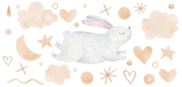 ハート、雲、黄金色のドットの間をジャンプするかわいいウサギのイースターイラスト Premiumベクター