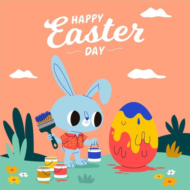 Пасхальная иллюстрация с кроликом, рисующим яйцо Premium векторы