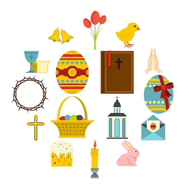 Easter items icons set in flat style Premium Vector