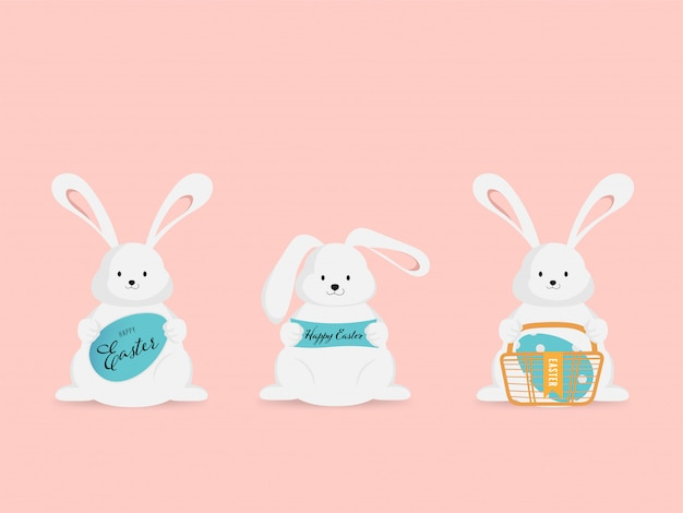 Easter and little bunny rabbit egg in holiday greeting. Premium Vector