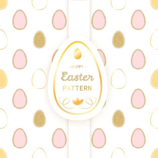 Easter luxury seamless pattern with glitter golden eggs Premium Vector